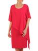 Amarantowa sukienka wyszczuplająca, kreacja z asymetryczną narzutką 31021