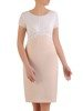 Beżowo biała sukienka z ozdobnym marszczeniem na biuście 25661