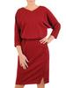 Bordowa, połyskująca sukienka ze zbluzowaną górą 31061