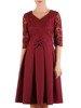 Bordowa sukienka koktajlowa z modną kokardą 23127