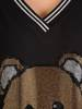 Czarna, dzianinowa tunika z ozdobnym nadrukiem 28890