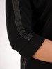 Czarna sukienka z dzianiny, kreacja z modnymi wstawkami 24717