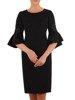 Czarna sukienka z ozdobnymi rękawami 26266