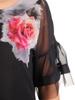 Czarna, szyfonowa bluzka z kwiatowym nadrukiem 30576