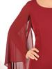 Elegancka bordowa sukienka z luźnymi, szyfonowymi rękawami 30628