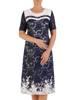 Elegancka dwukolorowa sukienka z koronki z ciekawą aplikacją 26508