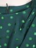 Elegancka, zielona sukienka w połyskujące złote groszki 29065