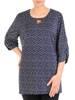 Granatowa bluzka damska z marszczeniami na rękawach 29825