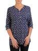 Granatowa bluzka koszulowa w oryginalnym wzorze 23932
