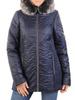 Granatowa kurtka damska z ozdobnym futerkiem 30855