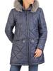 Granatowa kurtka z ozdobnym kapturem i przednimi kieszeniami 31096