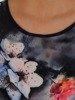 Granatowa sukienka w kwiaty, trapezowa kreacja z tkaniny 24932