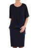 Granatowa sukienka wizytowa, kreacja z szyfonową narzutką 24500