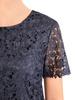 Granatowa sukienka z koronki, kreacja w kwiatowy wzór 30572