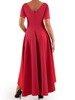 Malinowa sukienka maxi z błyszczącą aplikacją w talii 22761
