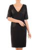 Prosta czarna sukienka damska, kreacja z połyskującego materiału 30893