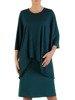 Prosta sukienka z asymetryczną, brokatową narzutką 23438