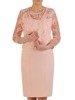 Prosta sukienka z koronkowym żakietem, morelowy komplet wizytowy 25308