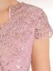 Pudrowa suknia wieczorowa, kreacja z topem zdobionym koronką 30160