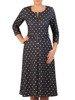 Rozkloszowana sukienka w grochy, kreacja z zamkiem przy dekolcie 23965