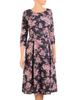 Rozkloszowana sukienka w kwiaty, dzianinowa kreacja na jesień 31012