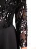 Rozkloszowana sukienka wieczorowa z cekinowym topem 30948