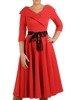 Rozkloszowana sukienka z paskiem, kreacja z ozdobnym kołnierzem 24214