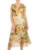 Sukienka koktajlowa, kopertowa kreacja w kwiaty 26360