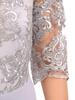 Sukienka koktajlowa maksi, popielata kreacja z koronkową górą 30733