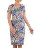 Sukienka w ciekawy wzór, prosty fason z dekoltem w serek 25724
