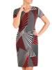 Sukienka w ciekawy wzór, prosty fason z dekoltem w serek 28837