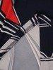Sukienka w geometryczny wzór, prosty fason z dekoltem w serek 25959