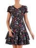 Sukienka w kwiaty, luźna kreacja z falbanami 26472