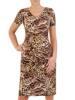 Sukienka w panterkę, prosty fason z dekoltem w serek 28830