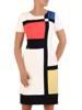 Sukienka wizytowa, prosta kreacja w geometrycznym wzorze 26303