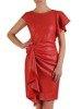 Sukienka wyjściowa, czerwona kreacja z ozdobnymi falbanami 25110