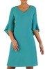 Sukienka z dekoracyjnymi rękawami, turkusowa kreacja wyszczuplająca 23430