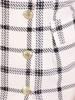Sukienka żakietowa w kratkę, kreacja z ozdobnymi guzikami 30118