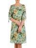 Szyfonowa sukienka w kwiaty, kreacja z ozdobnymi rękawami 25353