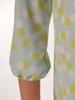 Trapezowa sukienka z falbanami, kreacja z gumkami na rękawach 25079
