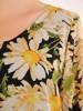 Trapezowa sukienka z falbanami, kreacja z gumkami na rękawach 30487