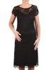 Trapezowa sukienka z koronki, kreacja z wycięciem na plecach 23003