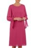 Trapezowa sukienka z szyfonu, kreacja z wiązaniem na rękawach 24078
