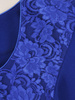 Trzyczęściowy komplet damski, chabrowa garsonka z koronkową bluzką 30454