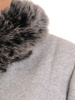 Wełniany płaszcz damski z odpinanym, futerkowym kołnierzem 30668