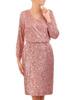Wieczorowa sukienka z cekinów, kreacja z kopertowym dekoltem 30770