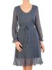 Zwiewna sukienka w groszki, kreacja z ozdobną falbaną 30736